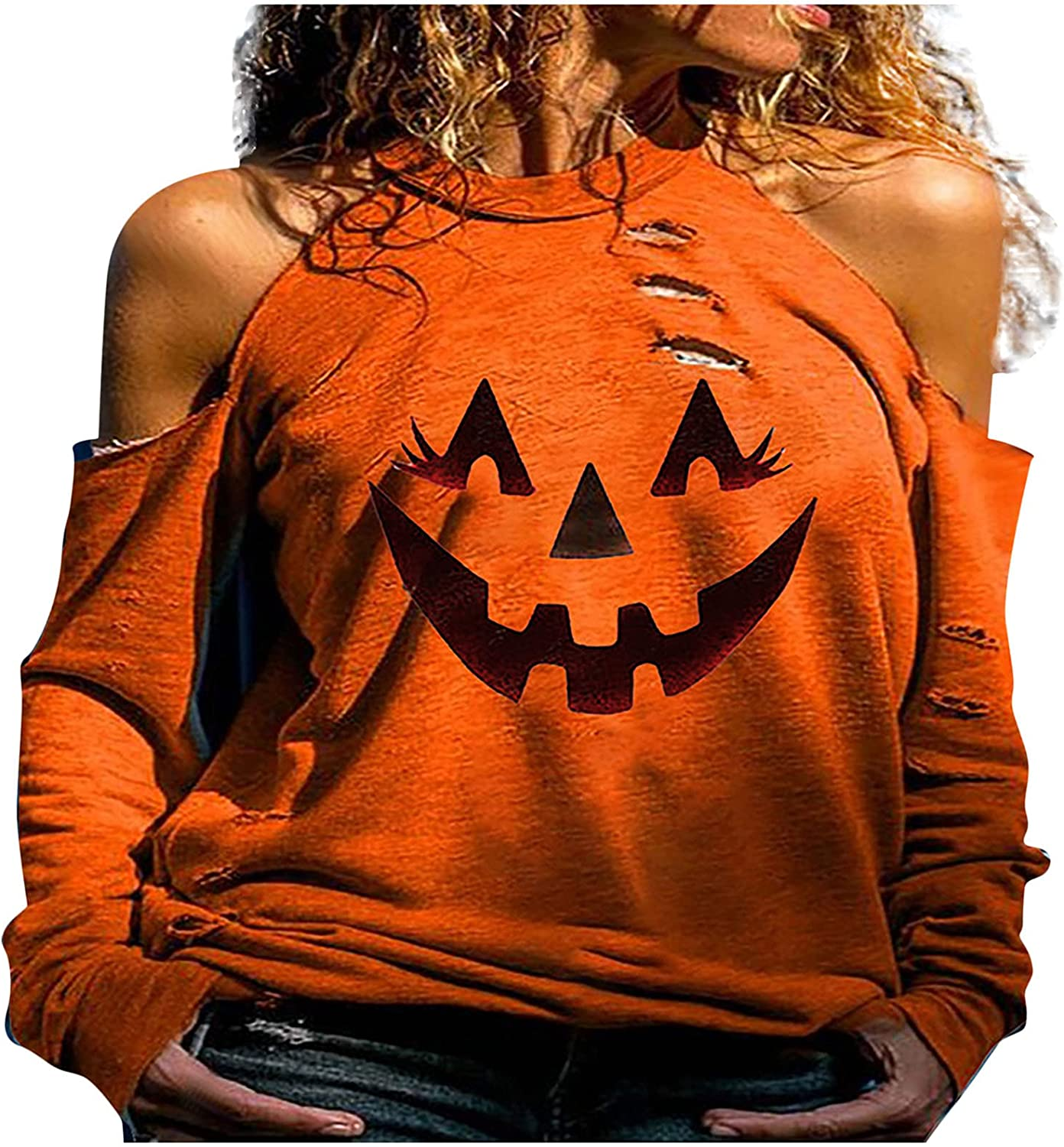 Women Halloween Halter Tunic Tops, Trendy Off Shoulder Blouse Plus Size Casual Tunic Tops Sexy Tee Shirts Streetwear