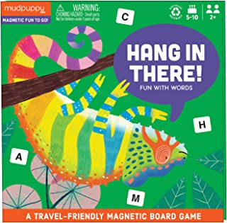 Mudpuppy Hang in There! Magnetic Board Game – Colorful Word Game for Kids Ages 5-10, 2+ Players – Compact & Magnetic Desig...