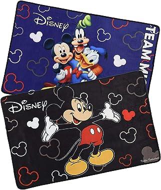 "Kuber Industries Disney Team Mickey Mouse 2 Pieces Anti-Slip Door Mat 23""x15"" (Black & Royal Blue) - CTKTC046072"