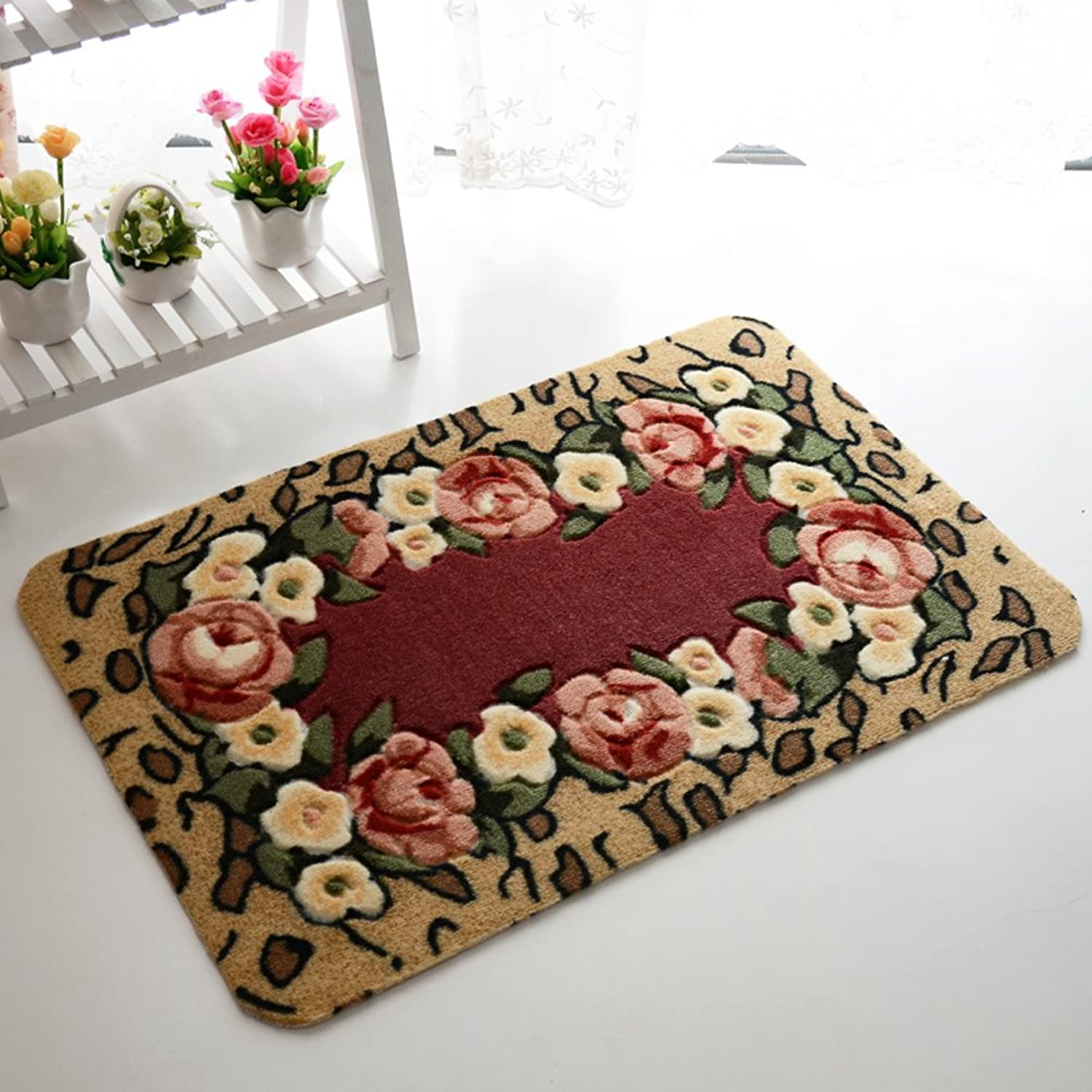 Entrance,Indoor Mats Fashion,Rural, Cut Flower Mats Kitchen,Bathroom,Anti-skidding,Absorbent,Bedroom Mats Floor Mat-C 70x140cm(28x55inch)