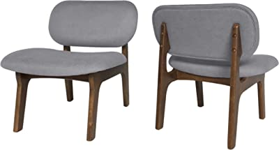 Christopher Knight Home Jacson Wooden Club Chair (Set of 2), Gray and Walnut Finish