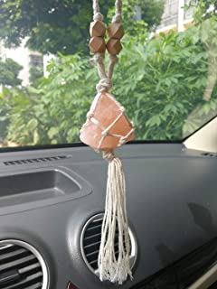 LFaize Handmade Himalayan Salt Car Accessories Car Charm Rear View Mirror Car Ornament Gift for Her