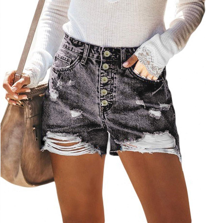 Denim Shorts for Women,Women Denim Jean Shorts Stretchy High Rise Hole Summer Beach Denim Shorts