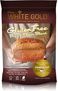 Extra White Gold Gluten Free Bread Flour Blend – For Breads, Yeasted Pastries , Pizza, Focaccia – [Kosher] [Gluten Free] [Vegan] [Soy Free] [Nut Free] [Dairy Free] – 1.1 Pound