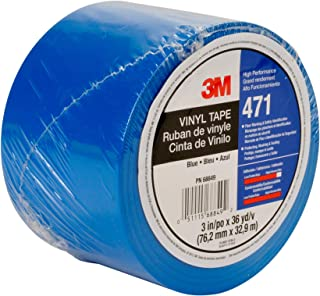 3M Vinyl Tape 471 Blue, 3 in x 36 yd, Conveniently Packaged (Pack of 1)