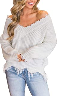Women's Loose Knitted Sweater Long Sleeve V-Neck Ripped Pullover Sweaters Crop Top Knit Jumper