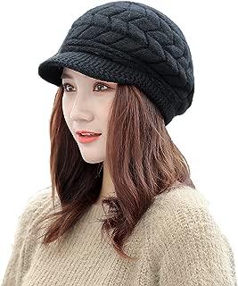 Winter Hats for Women Men Fleece Lined Ski Skull Cap Slouchy Beanies Knit Warm Hats Visor Caps