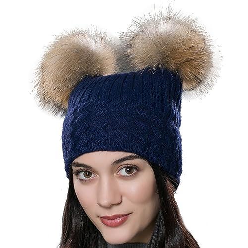 25538e0e3cd79 URSFUR Unisex Autumn Knit Wool Beanie Hat Women Winter Hat with Fur Ball  Pom Pom