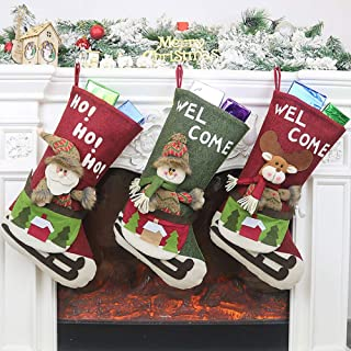 winemana Christmas Stocking, 18 Inch 3D Santa Snowman Reindeer Xmas Images, Non-Woven Letters Stockings Set, Christmas Dec...