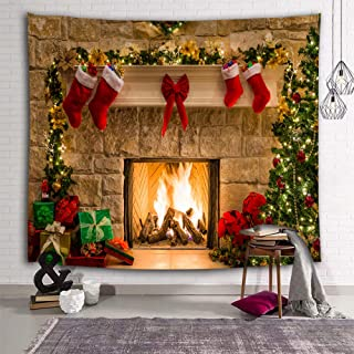 DEQI Christmas Tapestry Wall Hanging Fireplace Xmas Tree Stockings Gifts Wall Tapestry for Party Livingroom Bedroom Dorm Home Decor W90 x L71
