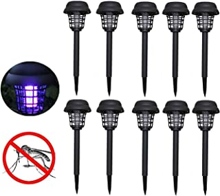 10 PCS Solar Powered LED Light Bug Zappers Mosquito Insect Pest Killer Lamp Suit for Indoor Outdoor Home Garden Porch Patio Backyard (Black) (Black)