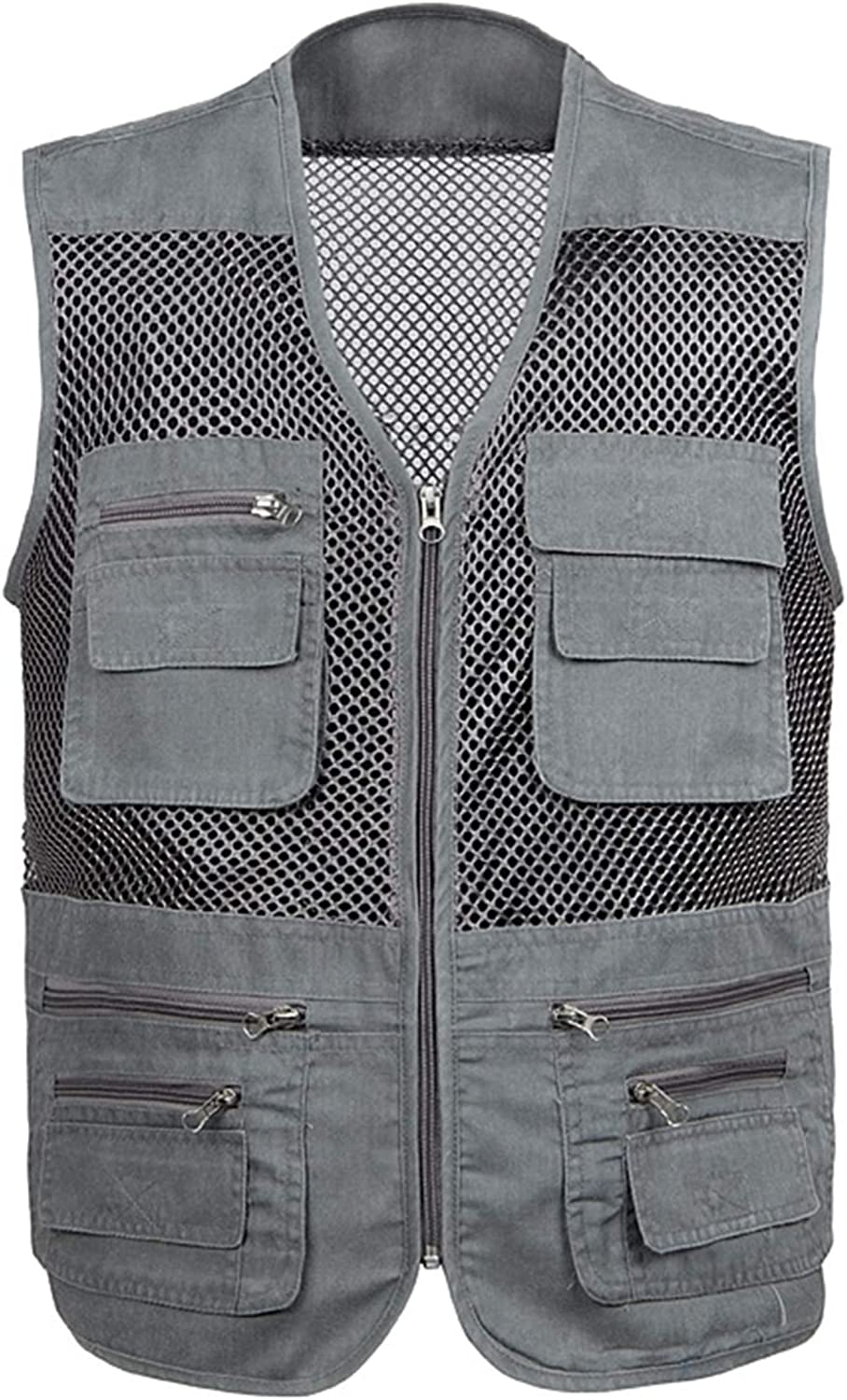 CNBPLS Large Size Mesh Quick-Drying Vests,Male with Multi-Pocket Waistcoat,Mens Breathable Fishing Vest Work Sleeveless Jacket,Gray,2XL