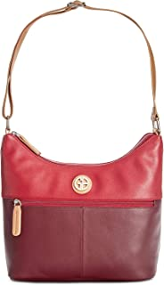 Giani Bernini Nappa Genuine Leather Two-Tone Dual Compartment Hobo Purse