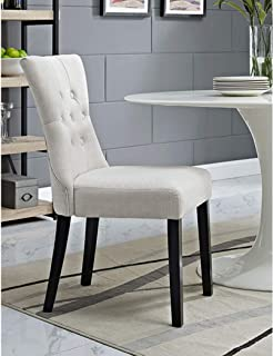 BSD National Supplies Decorium Beige Fabric Upholstered Curved Dining Chair Set of 2