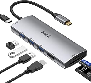 USB C Hub, USB Hub to HDMI Multiport AorZ USB C Dongle Adapter 7 in 1 with 4K HDMI Output,3 USB 3.0 Ports,SD/Micro SD Card Reader,100W PD,Compatible with MacBook Pro Air HP XPS and More Type C Devices