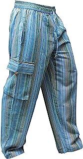 Shopoholic Fashion, pantaloni unisex in stile hippy, a righe, gamba larga, con tasche laterali