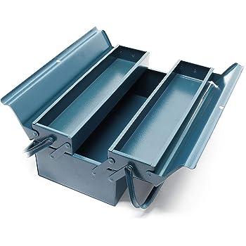 Caja de herramientas 420 x 200 x 160 mm Acero Con 3 compartimentos y asa Taller Bricolaje Maletín: Amazon.es: Bricolaje y herramientas