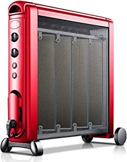CHOME Calentador eléctrico, tecnología de termostato Inteligente Ajustable de Potencia de Dos velocidades con Temporizador, radiador eléctrico de Ahorro de energía en el hogar sin Aceite,Rojo