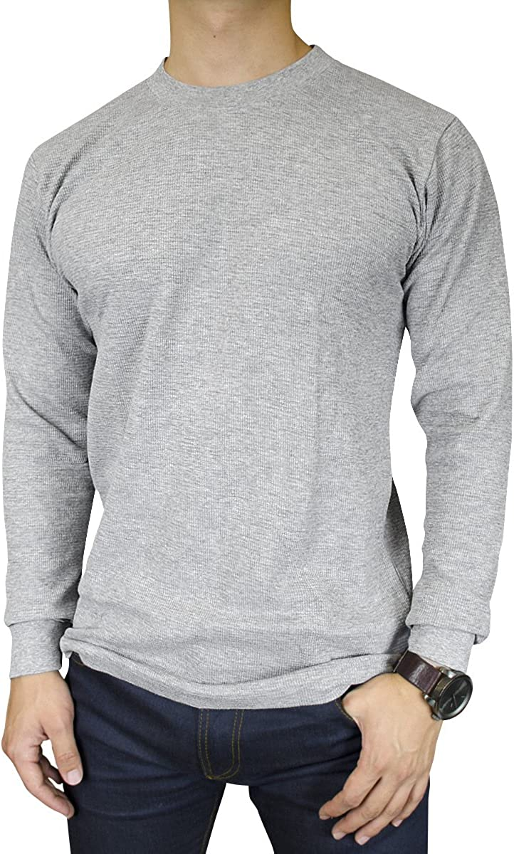 Knocker Men's Mid Weight Thermal Long-Sleeve Top Shirt (Heather Grey, Small)