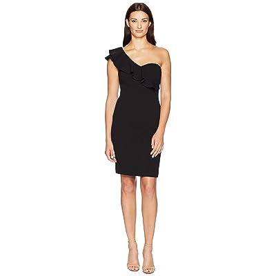 Calvin Klein One Shoulder Sheath with Ruffle Arm Detail CD8B18PN (Black) Women
