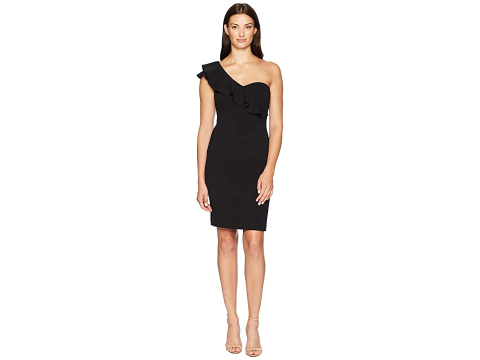 Calvin Klein One Shoulder Sheath with Ruffle Arm Detail CD8B18PN (Black) Women