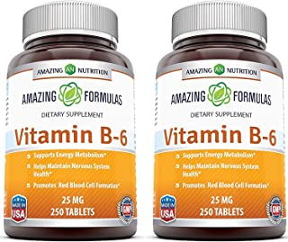 Amazing Nutrition Vitamin B6 Dietary Supplement – 25 mg, Pack of 2-250 Tablets – Supports Healthy Nervous System, Metaboli...