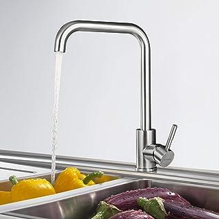 Küchenarmatur 360° Drehbar Wasserhahn Küche aus SUS304 Edelstahl, BONADE Spültischarmatur Einhebelmischer Gebürsteter Nickel Armatur Küche Mischbatterie für Spülbecken