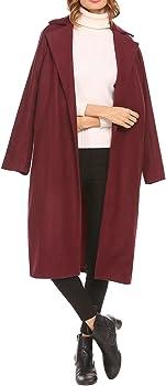 SoTeer Women's Open Front Full Length Long Wool Winter Coat Plus