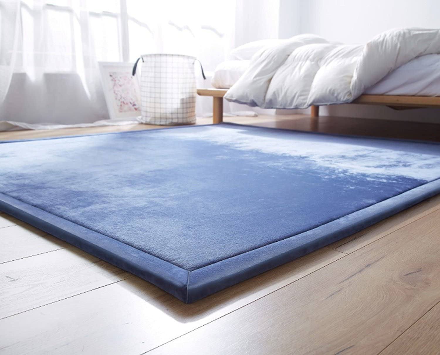 Pure color Mat Crystal Velvet Rug Easy To Clean Modern Dinning Room Bathroom Living Room Anti-skidding Soft Mat ( Size   150200cm , Style   Style3 )