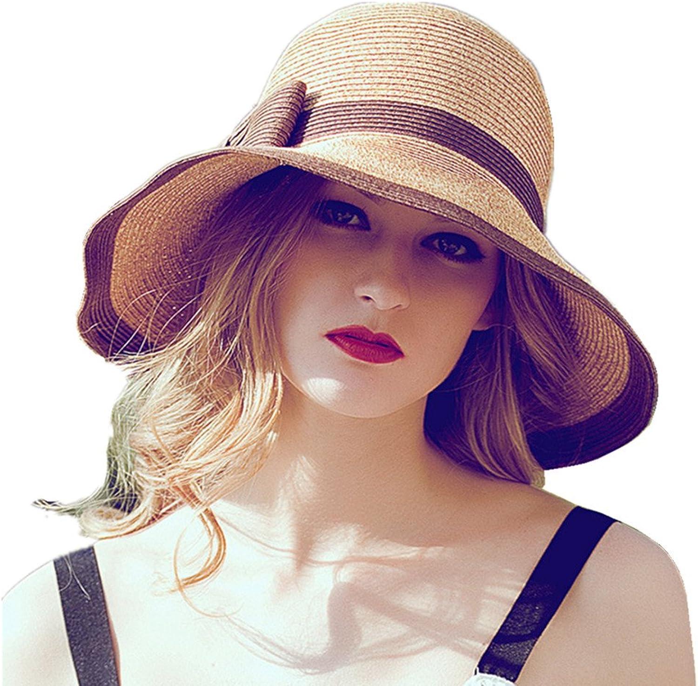 Home Prefer Womens Straw Sun Hat UPF50+ Wide Brim Floppy Hat Summer Beach Cap