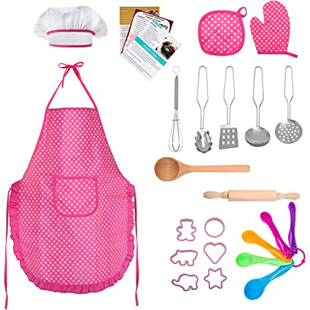 Complete Kids Cooking and Baking Set 11 Pcs Includes Apron for Little Girls US