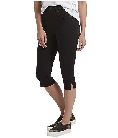 HUE Ultra Soft Denim High-Waist Short Capris (Black) Women