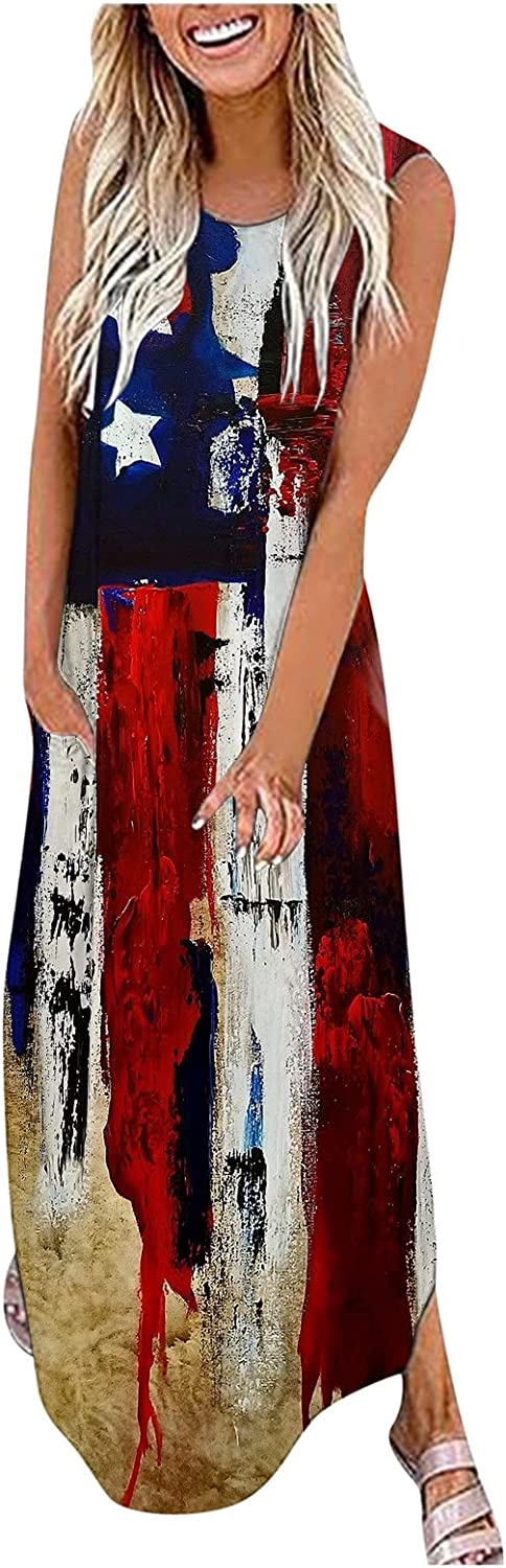 Dresses for Women Casual,Women's Casual Maxi Dresses 4th of July Sleeveless Split Long Loose Dress with Pockets
