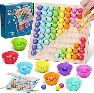 Montessori Jouets en Bois Clips Perles Tri Matching Puzzle Mains Brain Training Jeu Jeux éducatifs Plateau Enfant de 3 4 5...