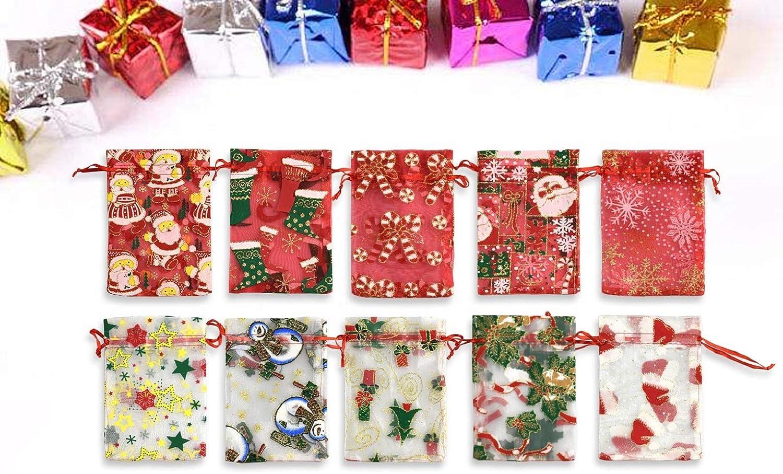 UMIPUBO Organzabeutel Schmuckbeutel Organzas/äckchen Mit Kordelzug Geschenk Hochzeit S/äckchen Fest Party Beutel F/ür Weihnachten Kindergeburtstag Hochzeit Diy Handwerk Weihnachtsstil B-20 Stk