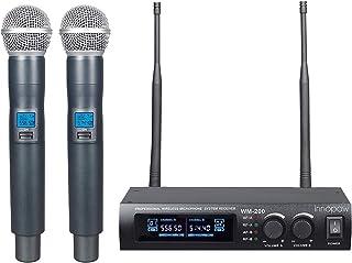 innopow Metal Dual UHF سیستم میکروفون بی سیم ، ورودی میکروفن بی سیم فلزی ، فاصله طولانی 150-200Ft ، 16 ساعت استفاده مداوم برای مهمانی خانوادگی ، کلیسا ، شب کارائوکه کوچک (WM-200-New) (WM200N)