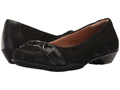 Comfortiva Posie Soft Spots (Black Distressed Foil Suede) Women