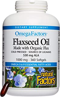 Omega Factors by Natural Factors, Flaxseed Oil, Supports Overall Health with Omega-3, 6 and 9 Fatty Acids, 360 softgels (3...