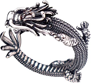 Vintage Unique Black 925 Sterling Silver Chinese Dragon Pinky Ring with Cubic Zironia for Men Women