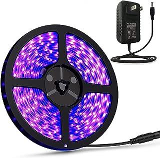UV Light Strip, Waterproof Led Strip Lights, 16.4ft 300 LEDs Rope Lights, 12V Flexible Black Lights UV Strip Lights Ultraviolet Light + Power Supply