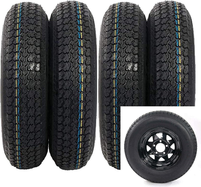 MOTOOS 4Pcs Trailer Tires Max 88% OFF Rims ST175 D13 Sp Black 175x80x13 Max 69% OFF 80