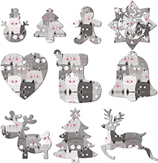 Go Away Cat Smiley Face Christmas Ornaments Hanging Ornament Set Snowman Christmas Tree Reindeer and Angel Set Of 10 Pieces Suitable for Christmas Tree