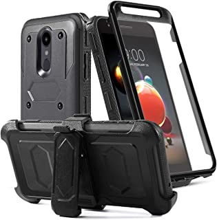 LG Aristo 2 Case/Aristo 3/Rebel 4 LTE/Tribute Dynasty/Tribute Empire/Zone 4/K8+/K8S/Fortune 2/Phonenix 4 Phone Case with Screen Protector Belt Clip[Kickstand] Full Body Heavy Duty Protective,Black