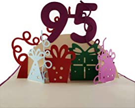 iGifts And Cards Happy 95th Birthday With Lots of Presents 3D Pop Up Greeting Card - Awesome, Cute, Fun, Unique, Special Occasion, Half-Fold, Celebration, Husband, Wife, Best Friend, Congratulations