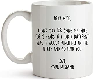 YouNique Designs 9 Year Anniversary Coffee Mug for Her, 11 Ounces, 9th Wedding Anniversary Cup for Wife, Nine Years