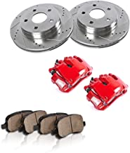 CCK12626 FRONT Powder Coated Red [2] Calipers + [2] Rotors + Quiet Low Dust [4] Ceramic Pads Performance Kit