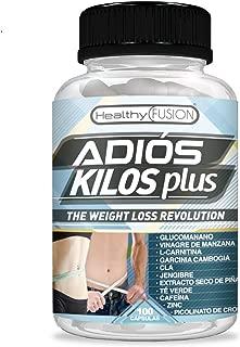 Adiós Kilos Plus   La revolución en pérdida de peso   Potente e innovador adelgazante   Reductor del apetito   Quemagrasas eficaz   Estimulante natural del metabolismo   100 cápsulas vegetales