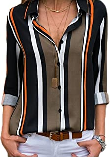 Women's V Neck Stripes Roll up Sleeve Button Down Blouses...