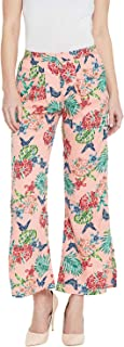 AASK Women's Peach and Multicolor Floral Printed Crepe Trouser (US_1283)
