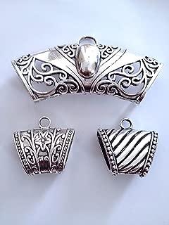 Sweet Crafty Tools 3 pcs Scarf Bail Ring Pendant Charm Slide Tube Set Necklace bails Jewelry Wraps